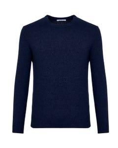 Maglia girocollo blu lana mouliné_0